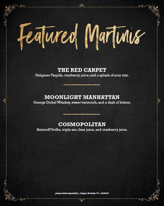 NYE Martini Bar Menu