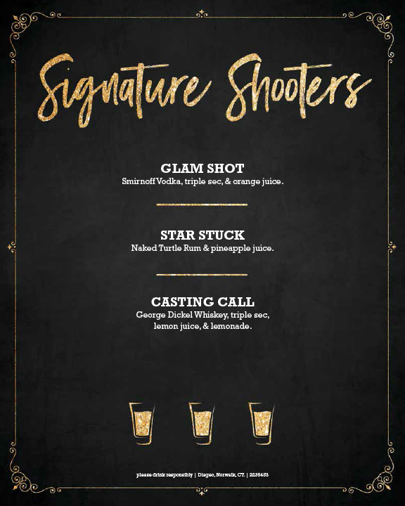NYE Shooter Bar Menu